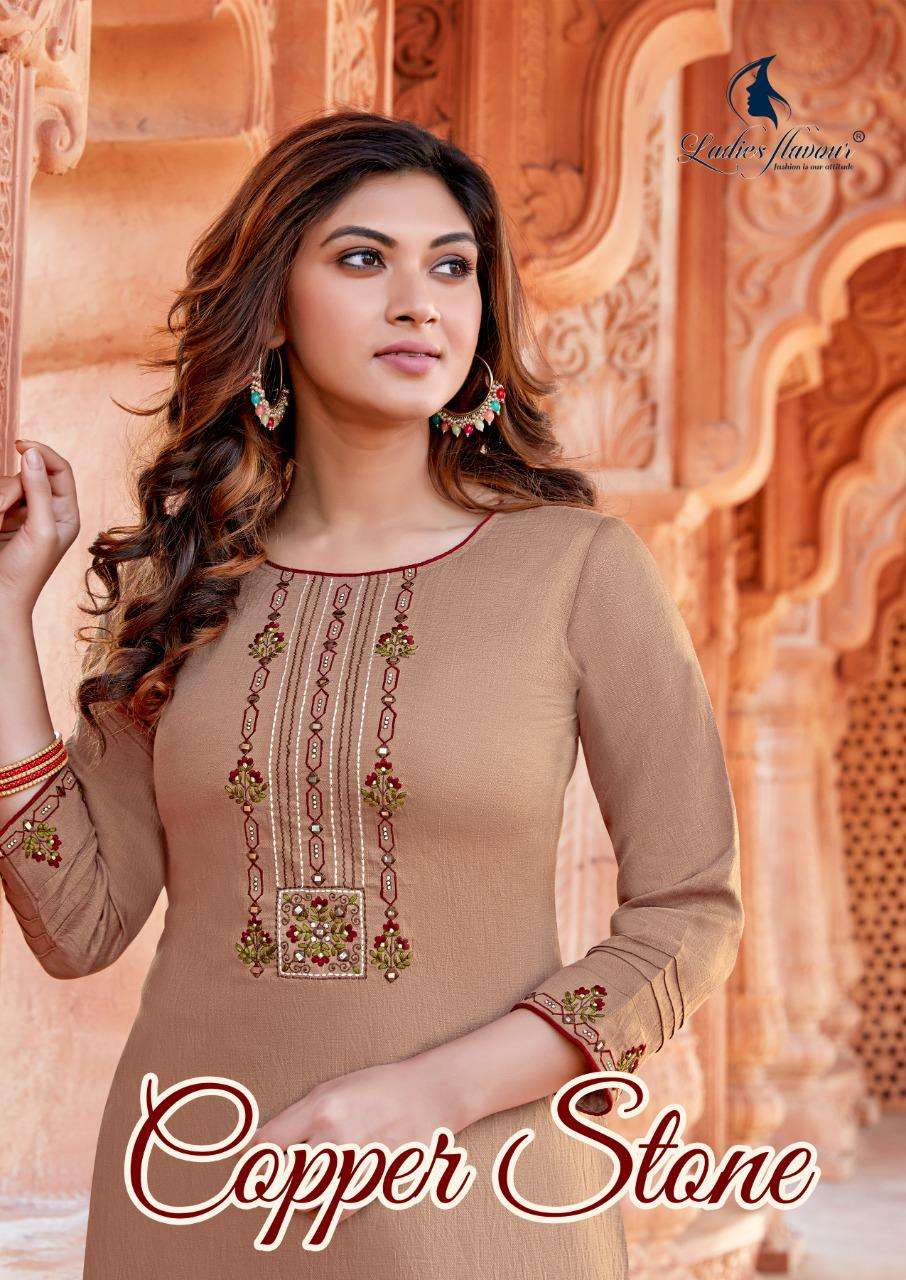Ladies Flavour Copper Stone Ethnic Wear Kurti With Pant