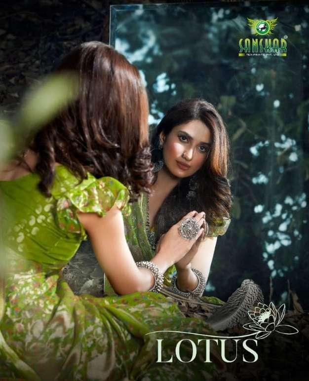 Lotus By Sanskar Tex Print Brasso Saris Exporter