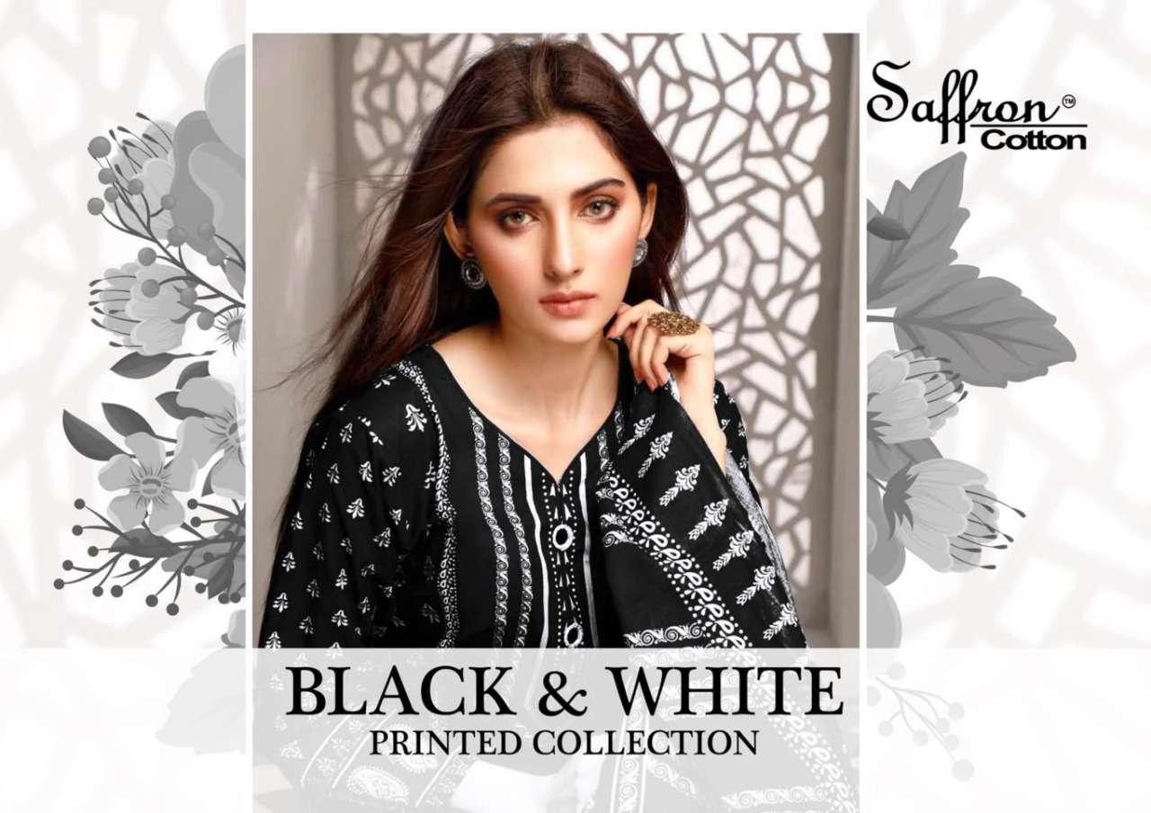 Saffron Black & White Cotton Salwar Kameez