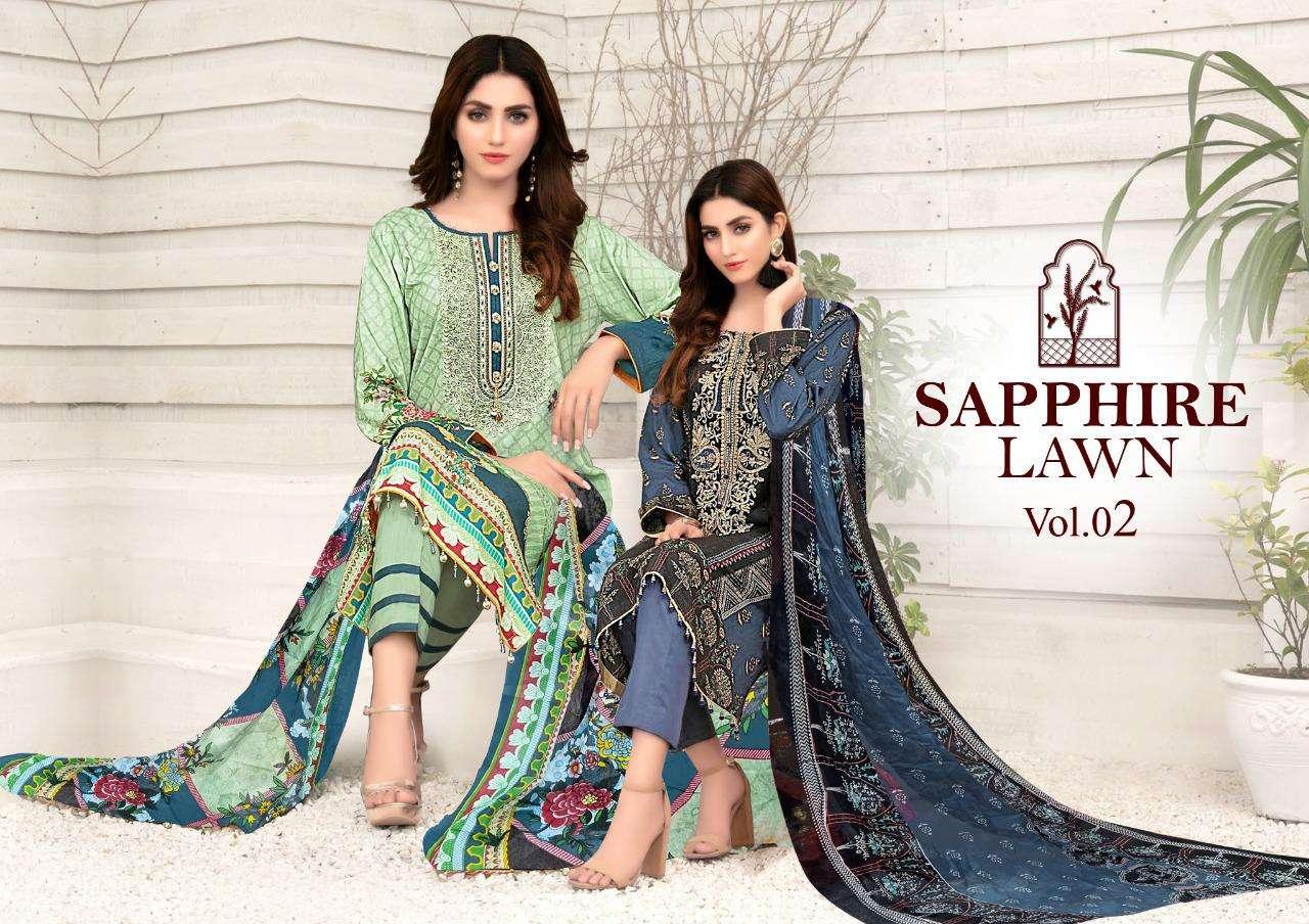 Sapphire Lane Vol 2 Maria B Lawn Printed Dress Materials