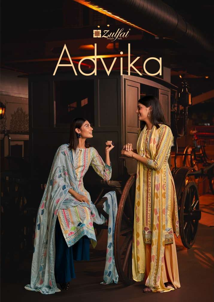 Advika By Zulfat Cotton Printed Formal Suits Wholesaler