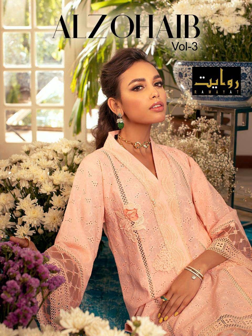 Alzohaib Vol 3 By Rawayat Cotton Work Pakistani Dresses