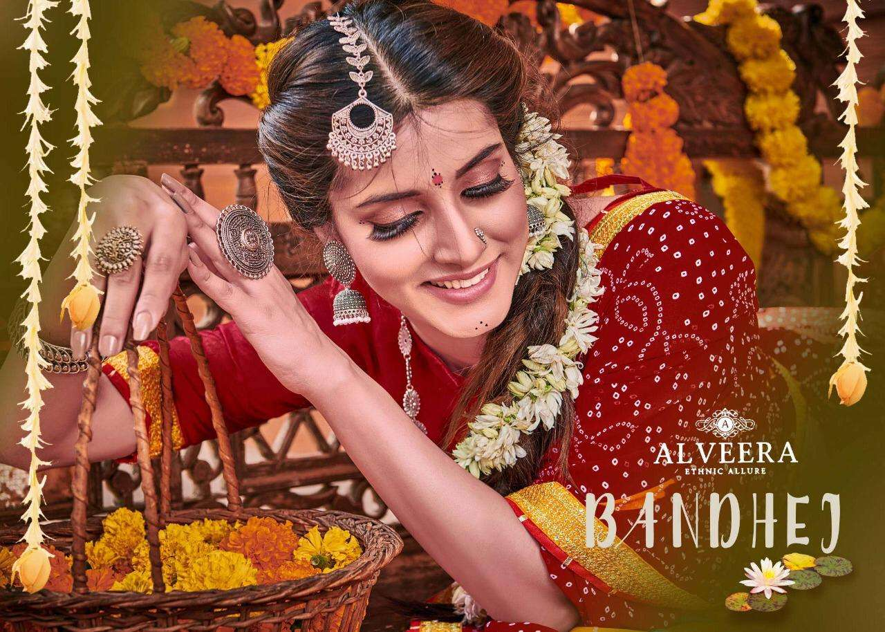Bandhej By Alveera Georgette Work Bandhani Saree