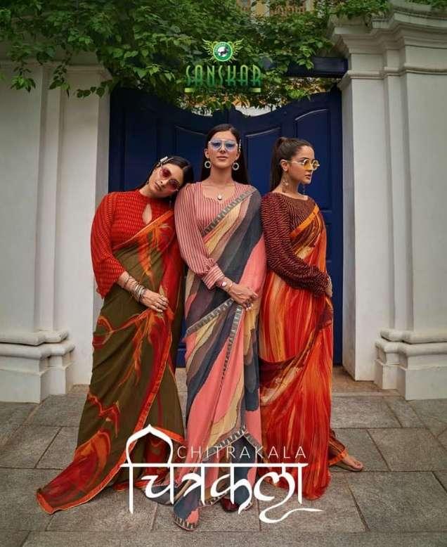Chitrakala By Sanskar Text Print Georgette Saree Exports