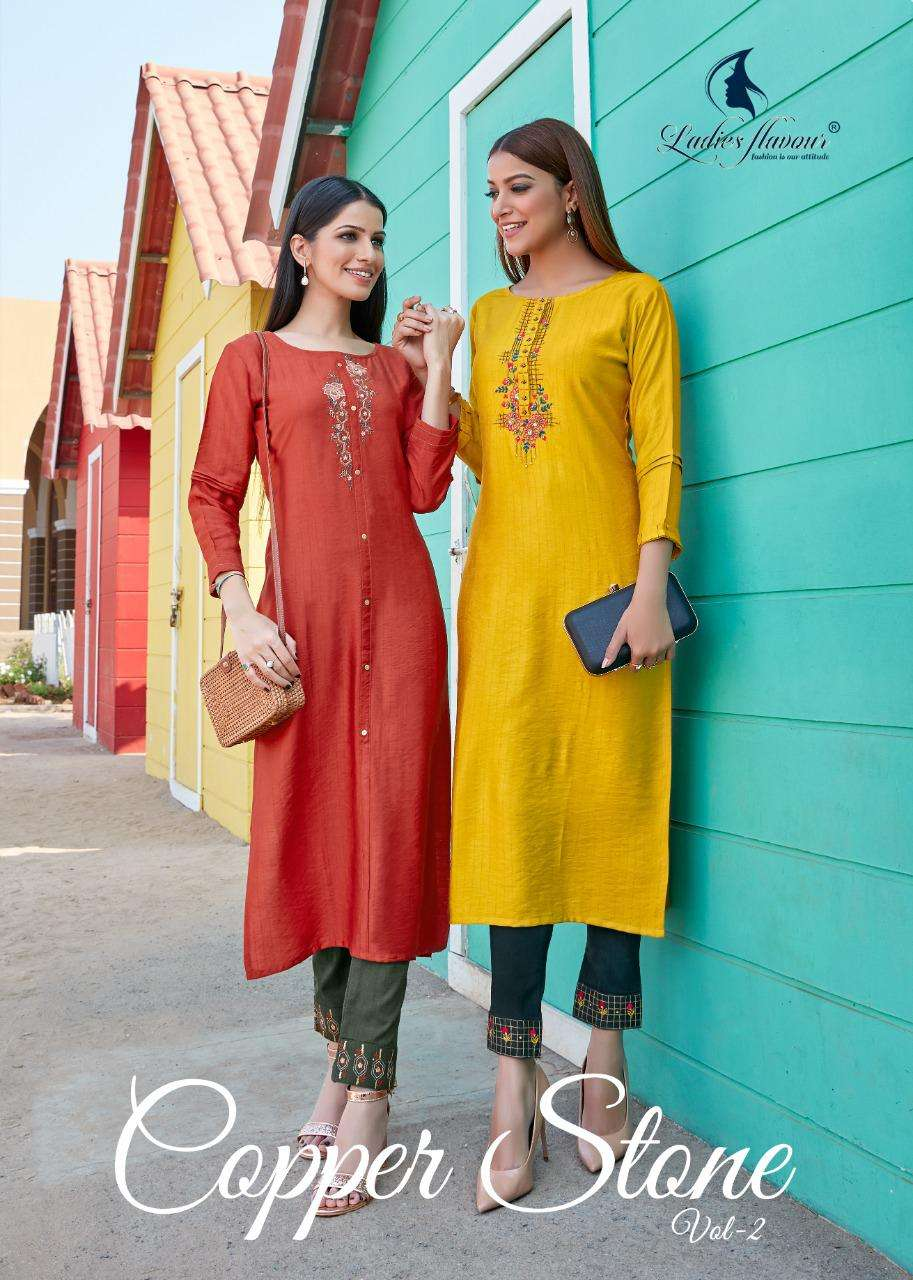 Copper Stone Vol 2 By Ladies Flavour Fancy Kurti With Pant