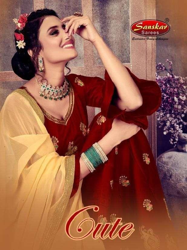 Cute By Sanskar Style Dark Rangoli Designer Lehenga