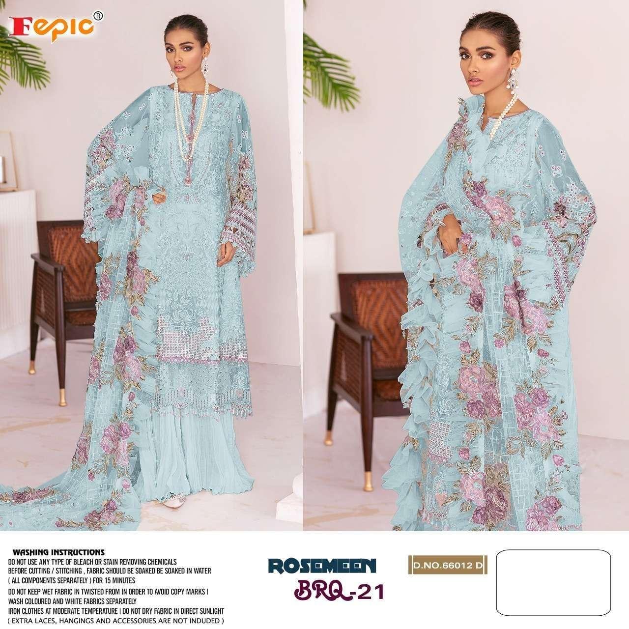 Fepic Rosemeen 66012 Net Pakistani Work Suits