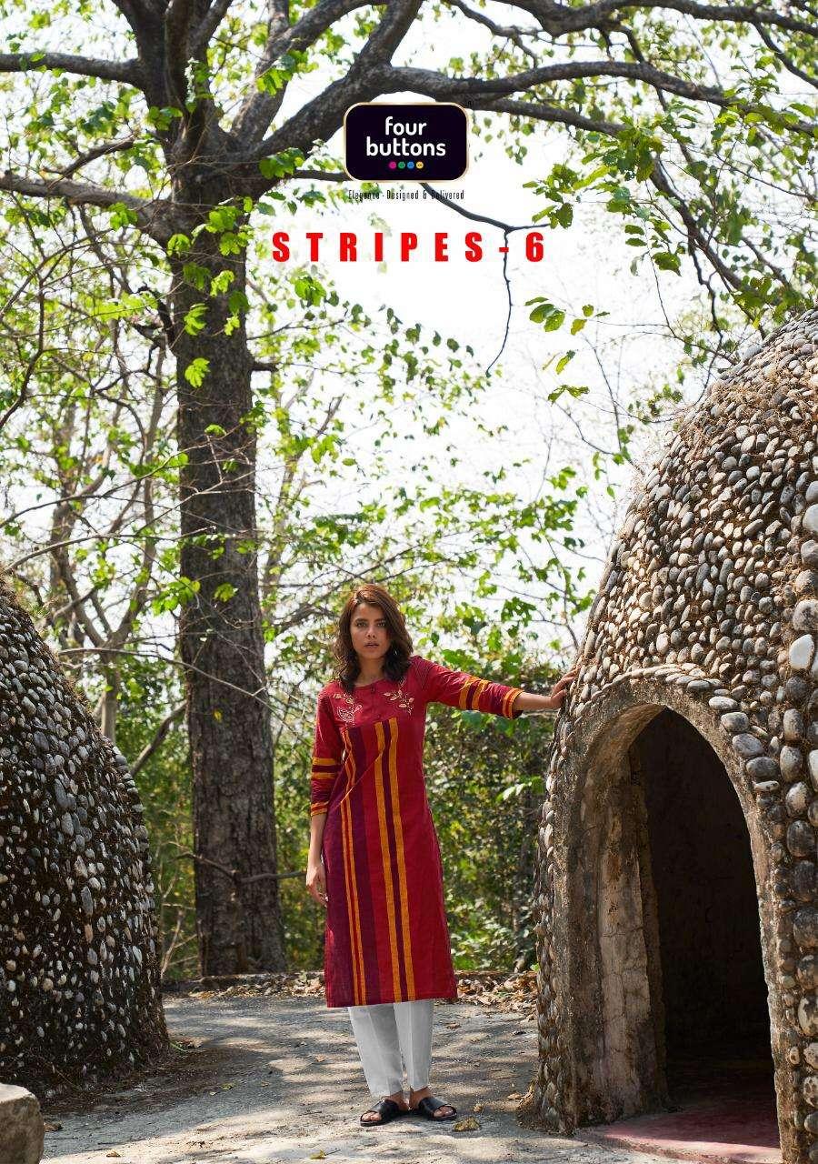 Four Buttons Stripes Vol 6 Woven Cotton Designer Kurti