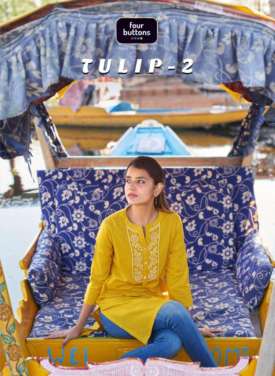 Four Buttons Tulip Vol 2 Cotton Work Fancy Kurti