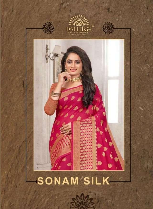 Ishika Sonam Silk Soft Cotton Silk Fancy Saree