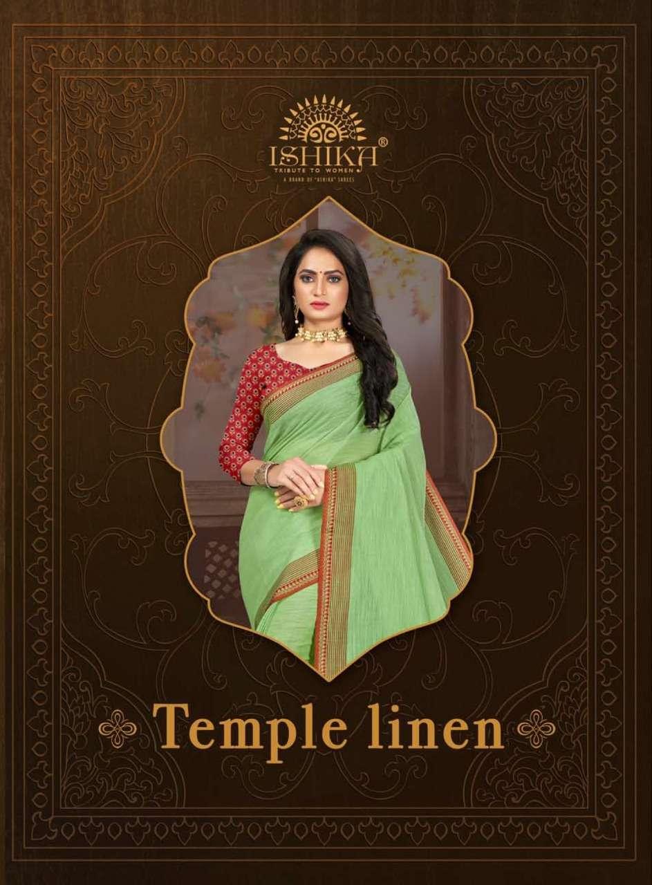 Ishika Temple Linen Fancy Linen Designer Saree
