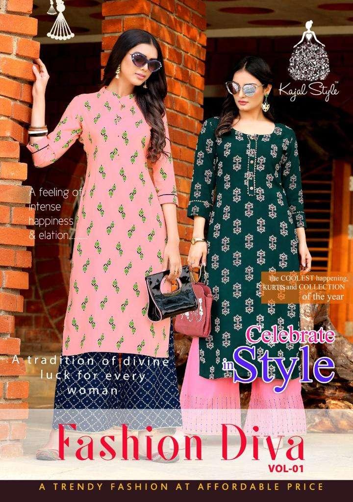 Kajal Style Fashion Diva Rayon Fancy Kurti With Plazzo