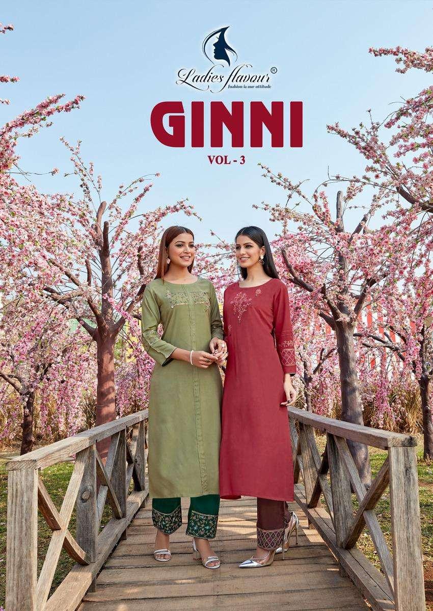 Ladies Flavour Ginni Vol 3 Rayon Kurti With Bottom Pair
