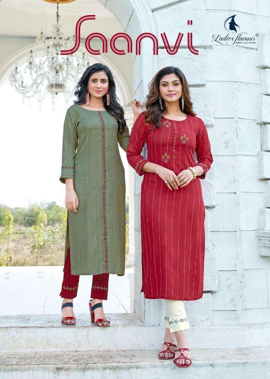 Ladies Flavour Saanvi Rayon Fancy Kurti With Bottom