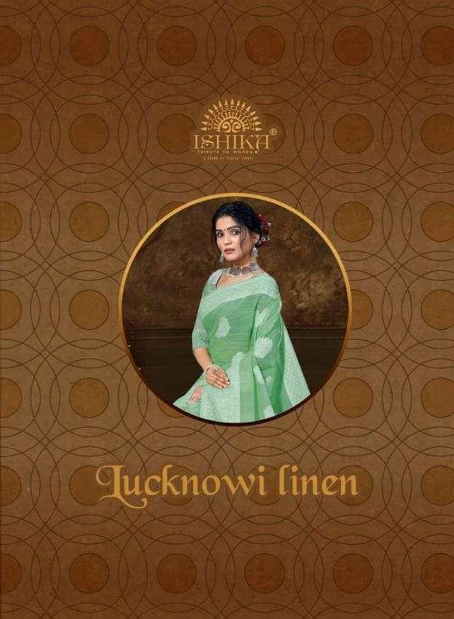 Lucknowi Linen By Ishika Linen Designer Fancy Saree