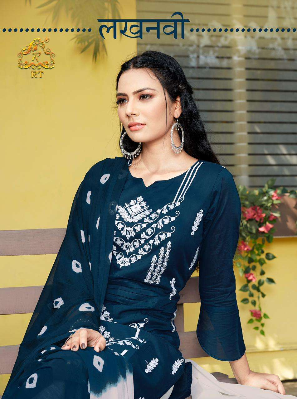 Lucknowi Readymade Fancy Kurti With Pant And Dupatta By Rijiya Trends