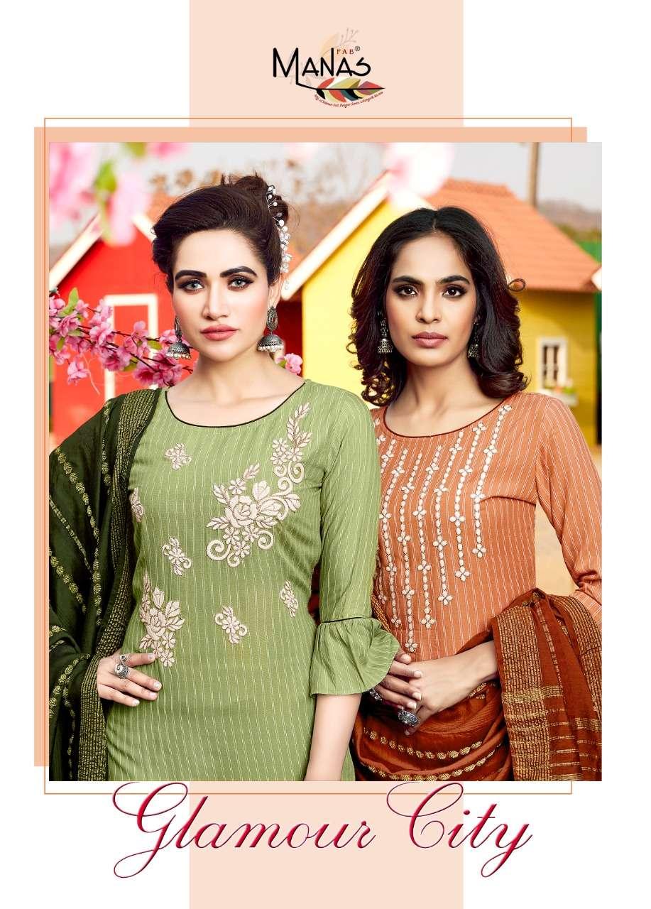 Manas Glamour City Rayon Full Stitch Kurti Pant With Dupatta