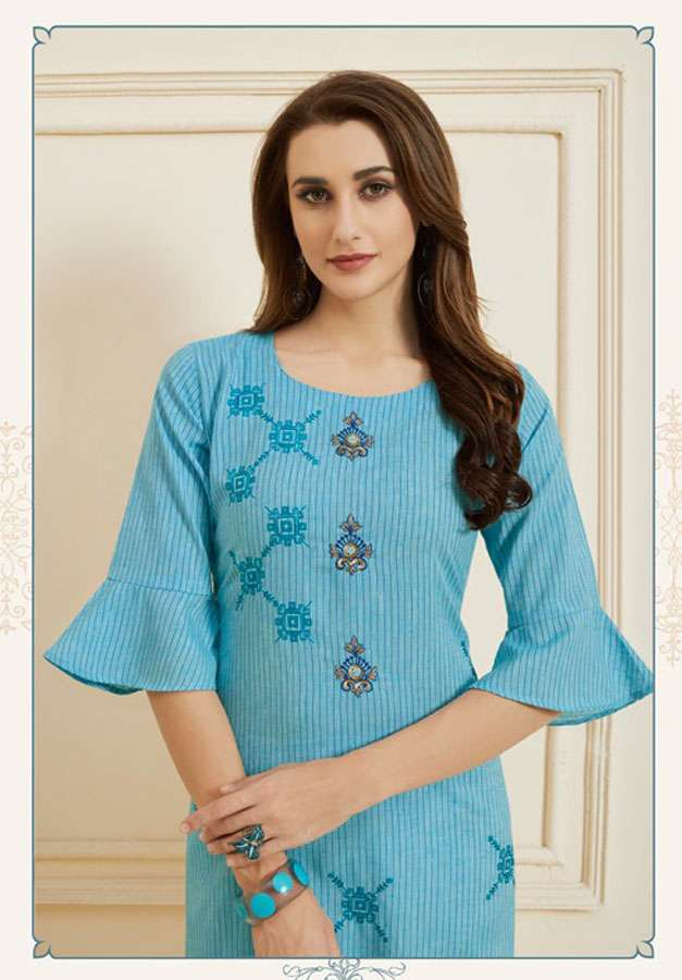 Nafisa By Tunic House Lilinen Cotton Hand Work Kurti Collection