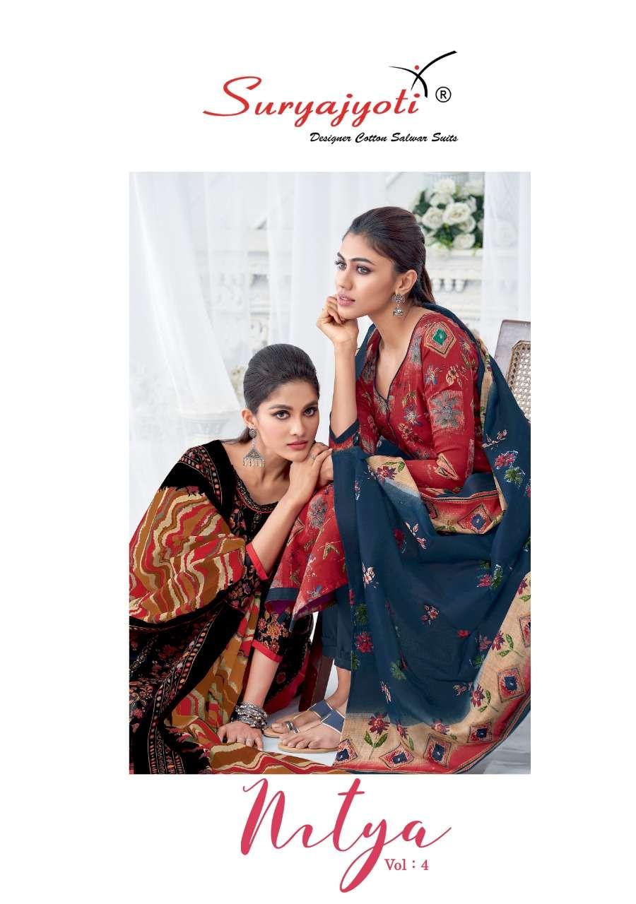 Nitya Vol 4 By Suryajyoti Satin Cotton Printed Salwar Kameez