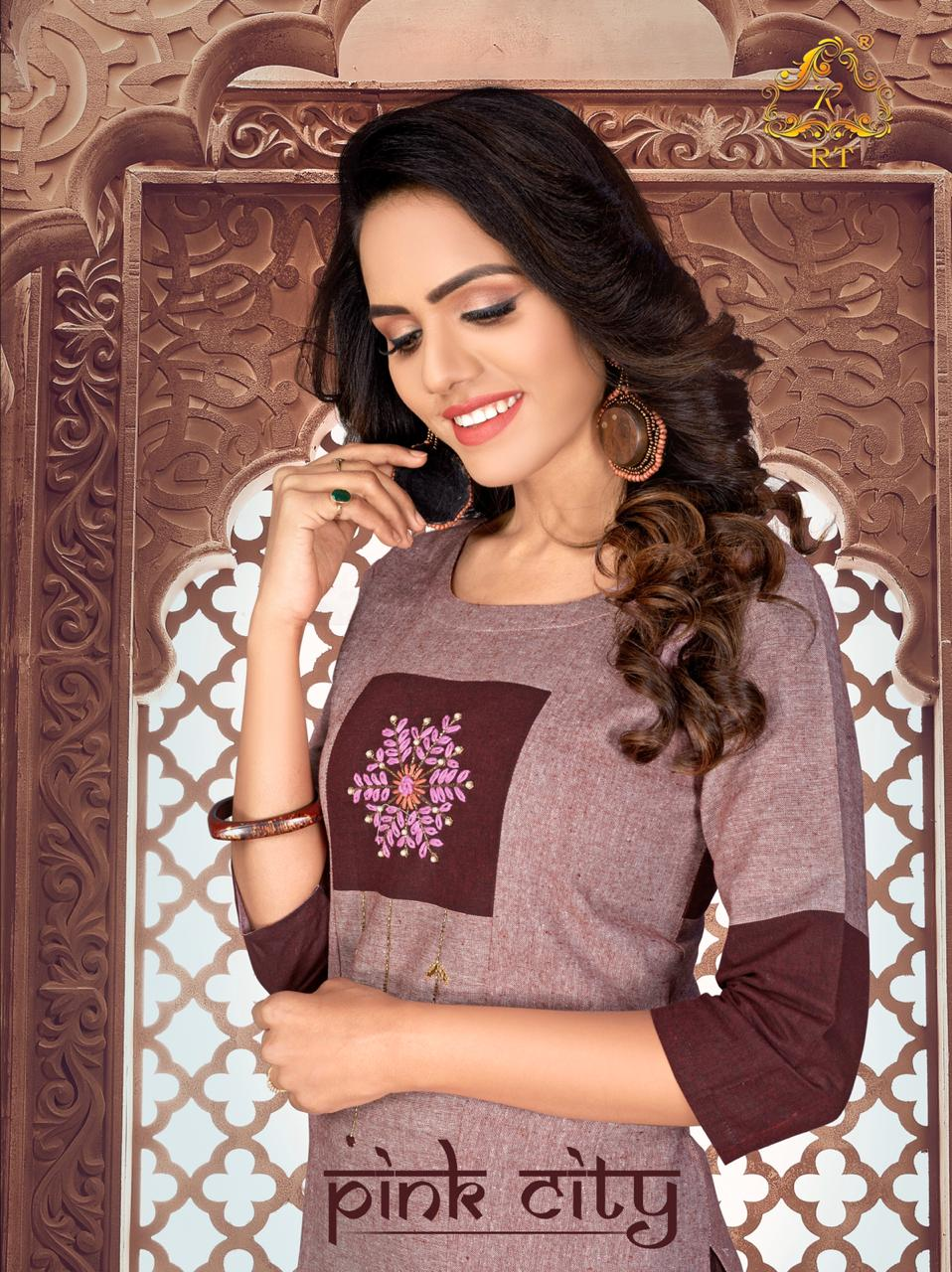 Pink City Cotton Handwork Fancy Kurti With Pant By Rijiya Trends