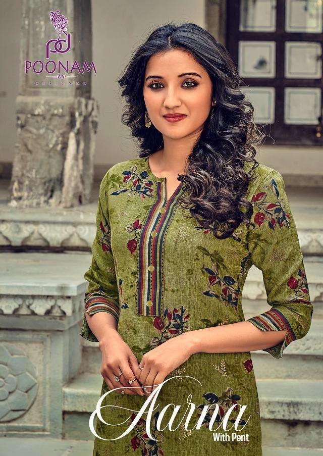 Poonam Aarna Rayon Slub Kurti With Pant Supplier