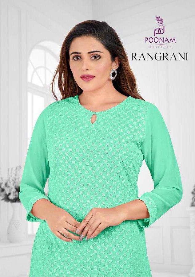 Rangrani By Poonam Georgette Chikan Work Fancy Kurti
