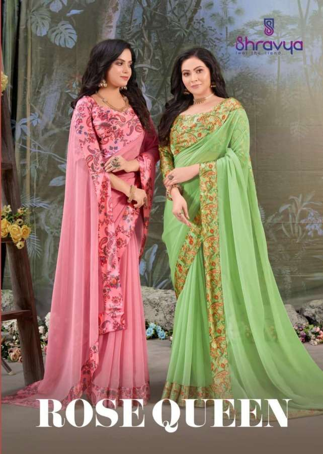 Rose Queen By Shravya Chiffon Silk Designer Saree