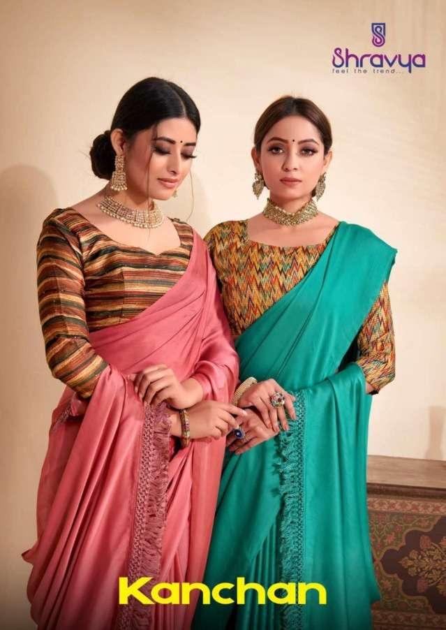 Shravya Fashion Kanchan Satin Chiffon Printed Saree