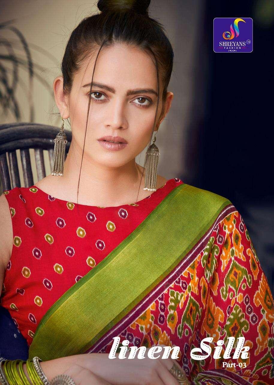 Shreyans Linen Silk Vol 3 Printed Fancy Saree Wholesaler