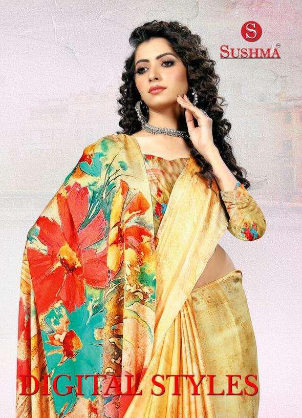 Sushma Digital Styles Satin Printed Saree