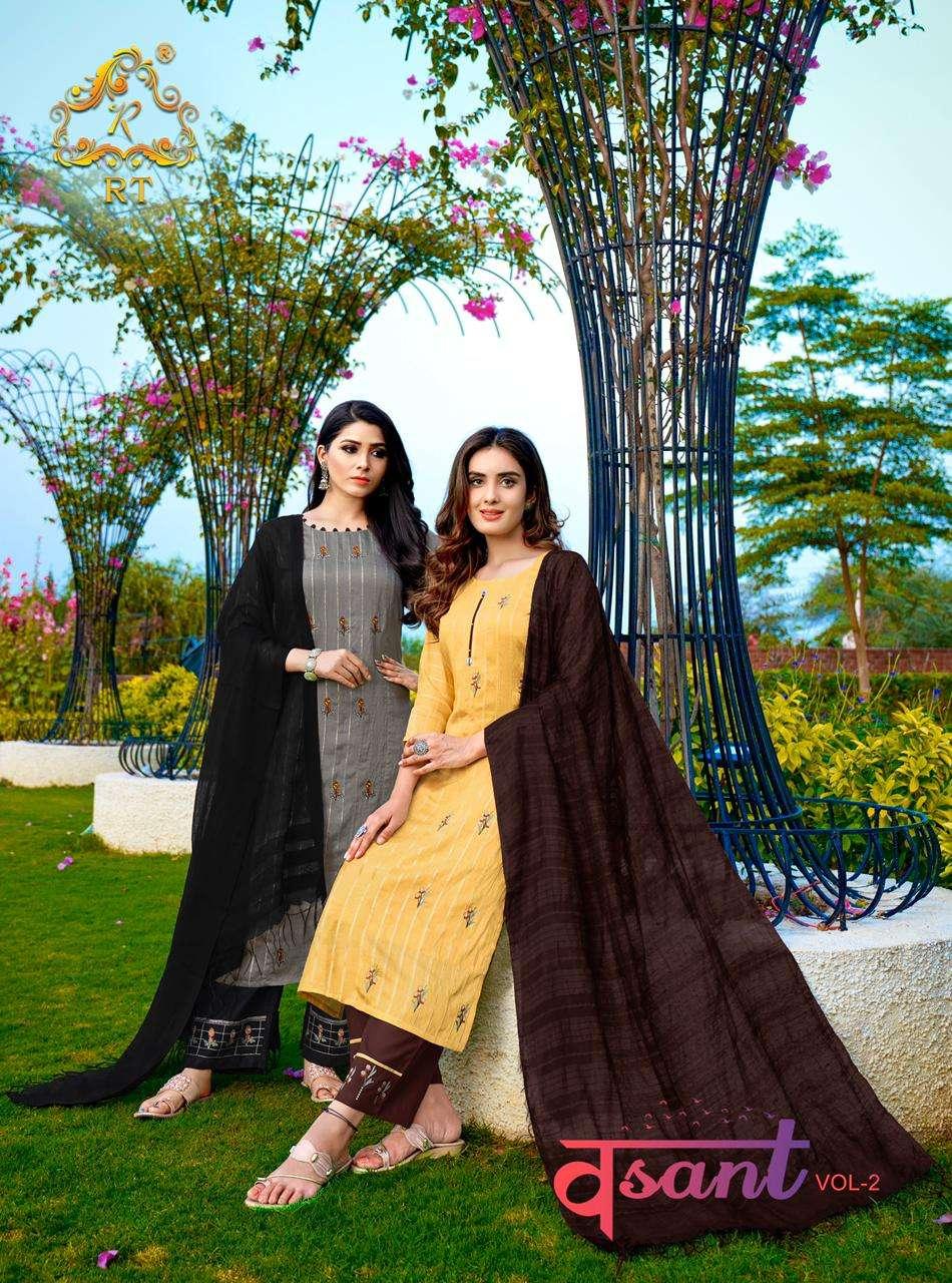 Vasant Vol-2 Readymade Fancy Viscose Kurti With Plazzo And Dupatta By Rijiya Trends