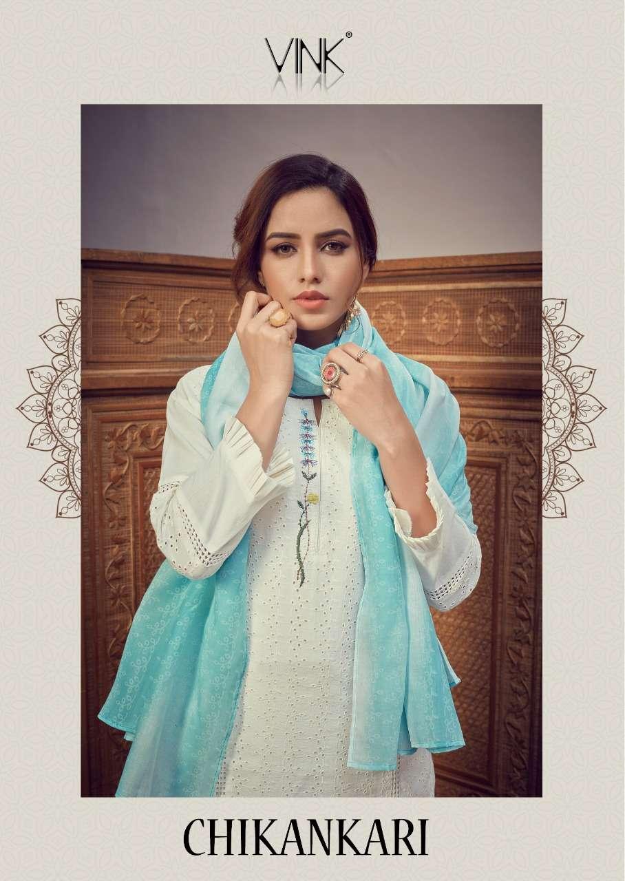 Vink Chikankari Readymade Cotton Schiffli Work Suits
