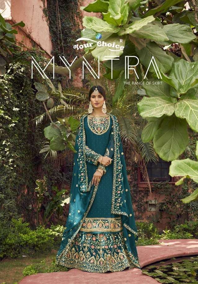 Your Choice Myntra Georgette Skirt Style Suits Wholesaler