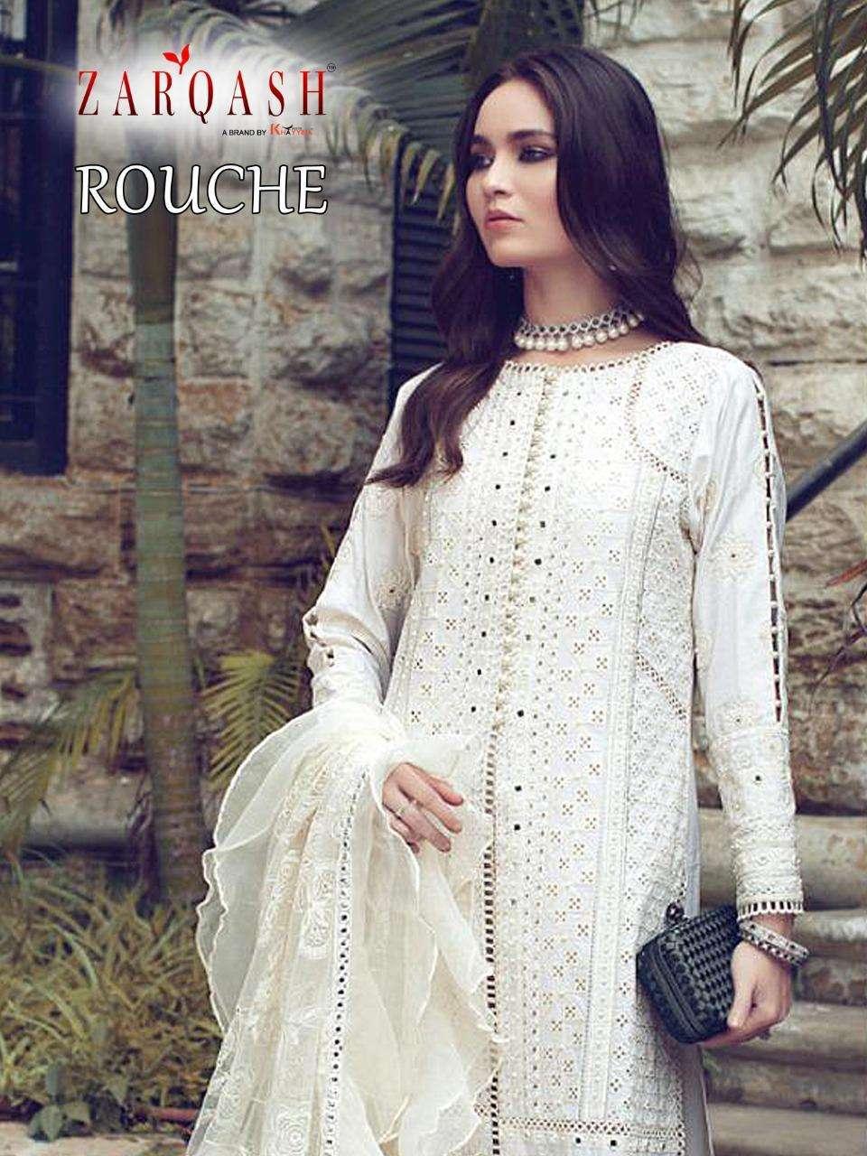 Zarqash Rouche Lawn Cotton Pakistani Suits
