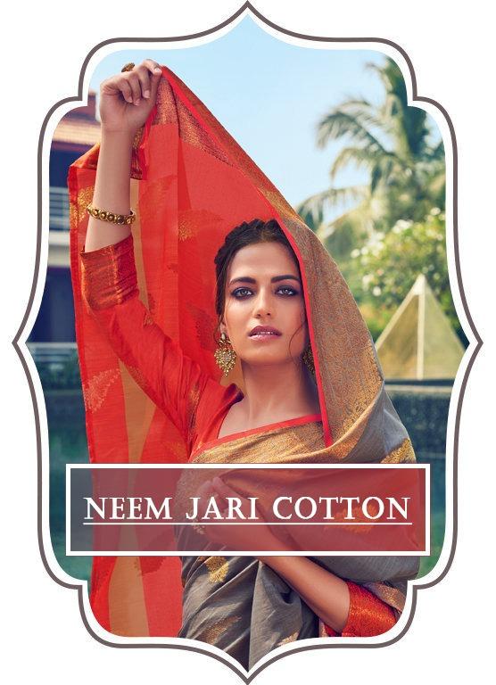 sangam prints neem jari cotton designer cotton sari wholesaler