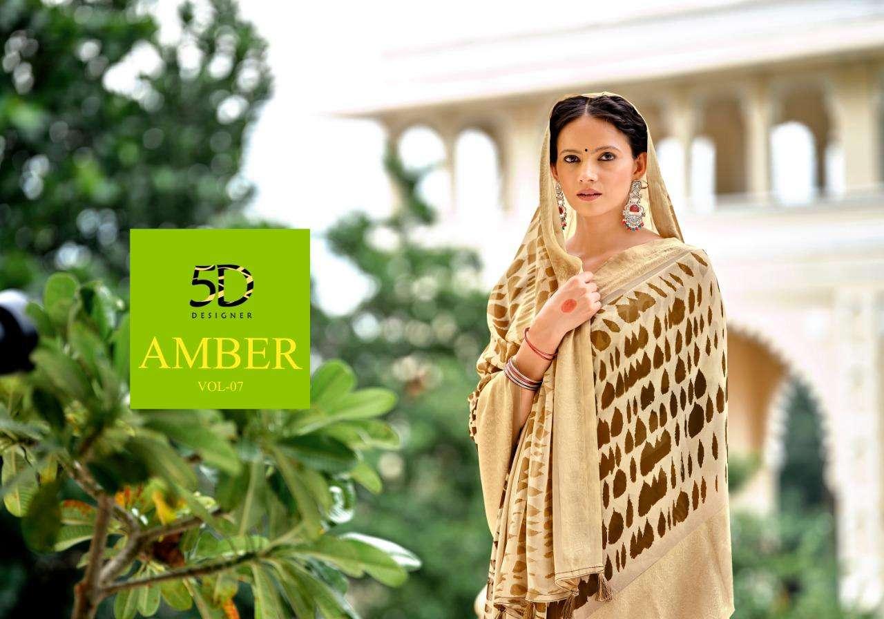 5d Amber Vol 7 Georgette Jacquard Fancy Sarees