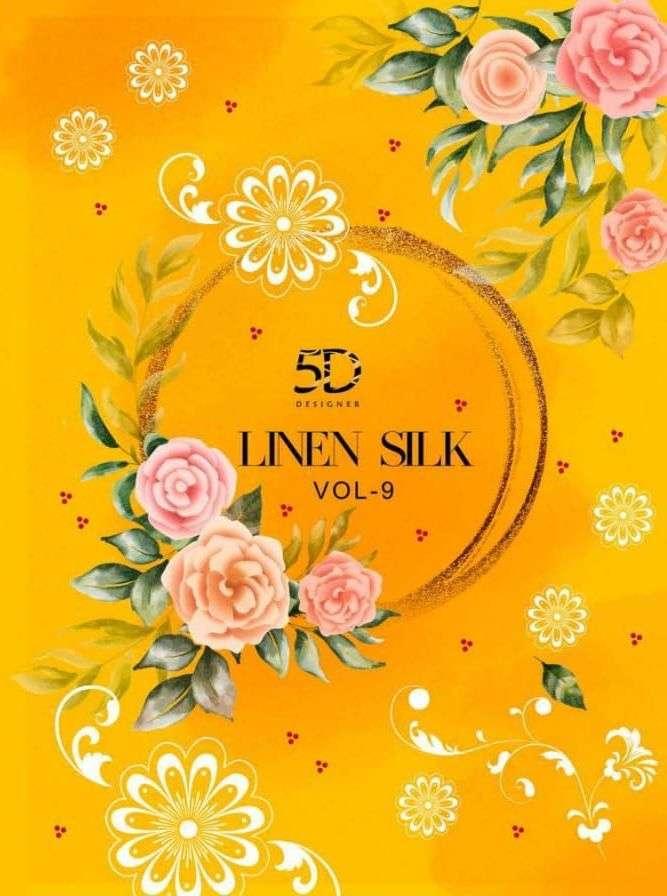 5d Linen Silk Vol 9 Printed Casual Wear Sarees
