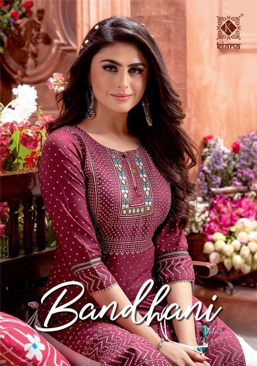 Bandhani Vol 3 By Kiana Cotton Bandhej Kurti With Sharara