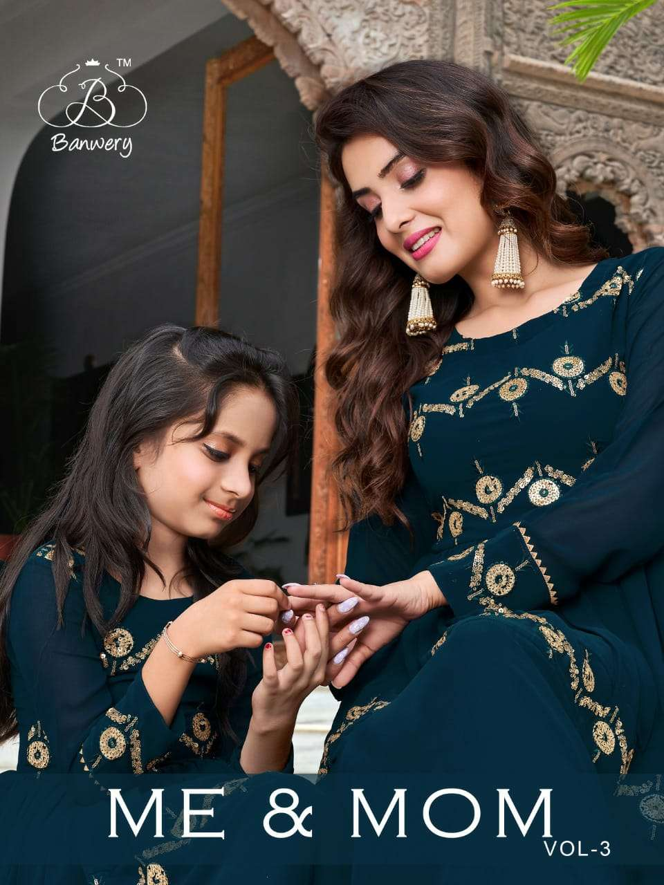 Banwery Me & Mom Vol 3 Georgette Long Gown For Mom & Kids