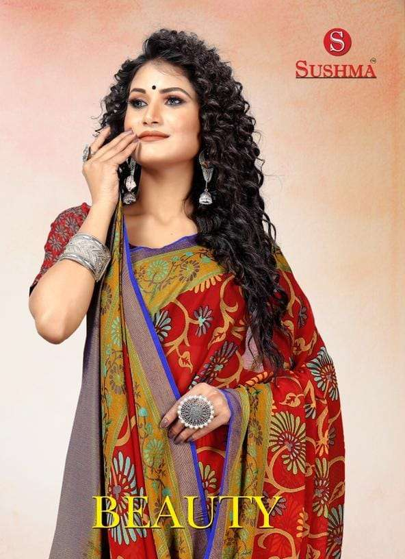 Beauty By Sushma Printed Brasso Designer Saree