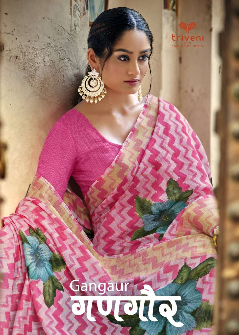 Gangaur By Triveni Cotton Linen Leheriya Printed Sarees