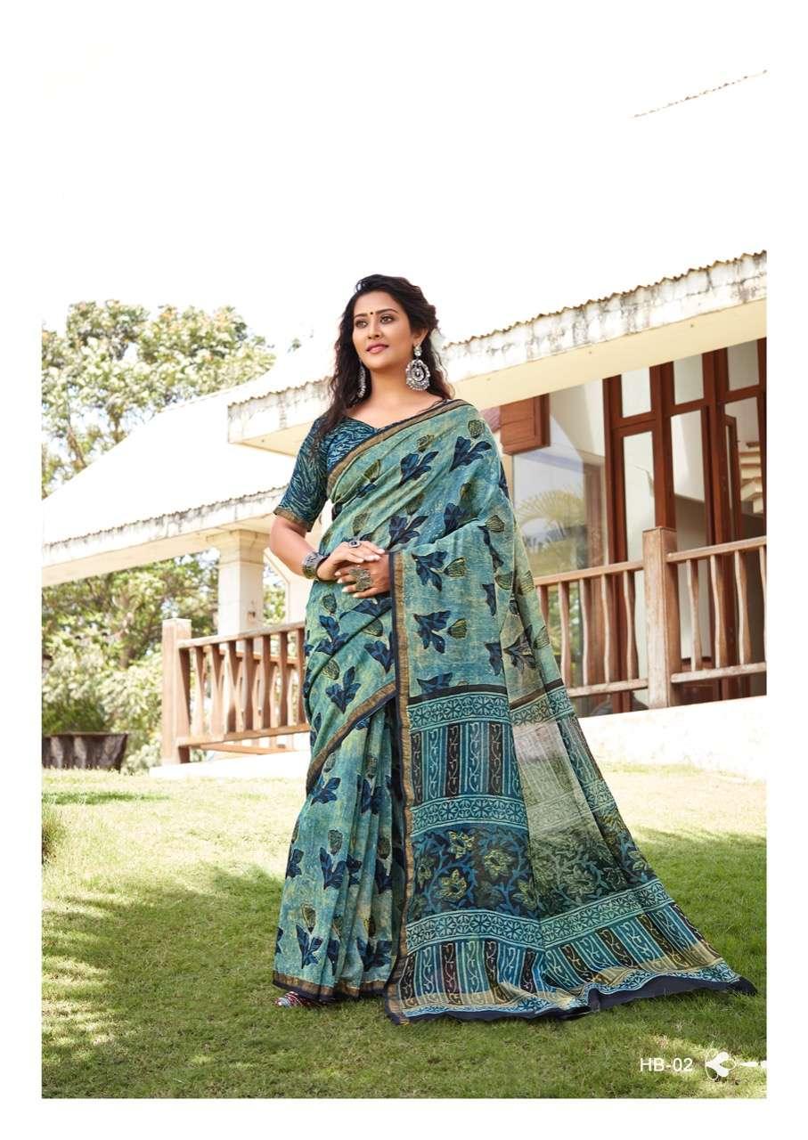 Hand Block Print By Sr Brand Mulmul Cotton Saree Exports