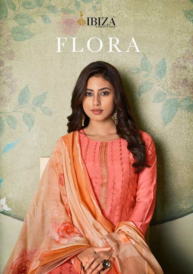 Ibiza Flora Maslin Embroidery Casual Wear Suits