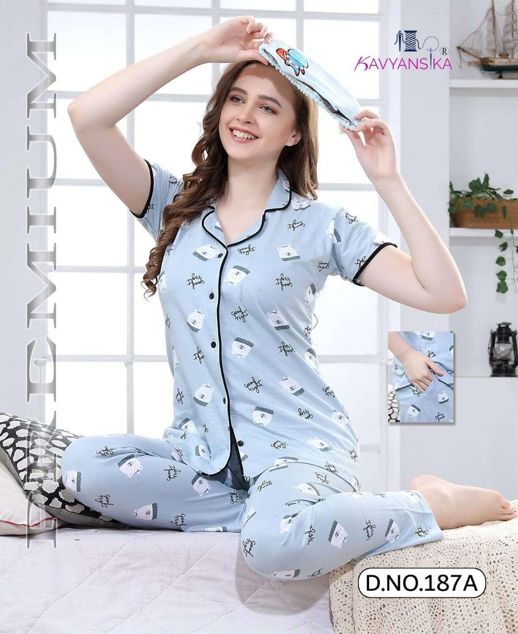 Kavyansika Collar Vol 187 Hosiery Cotton Ladies Night Suit