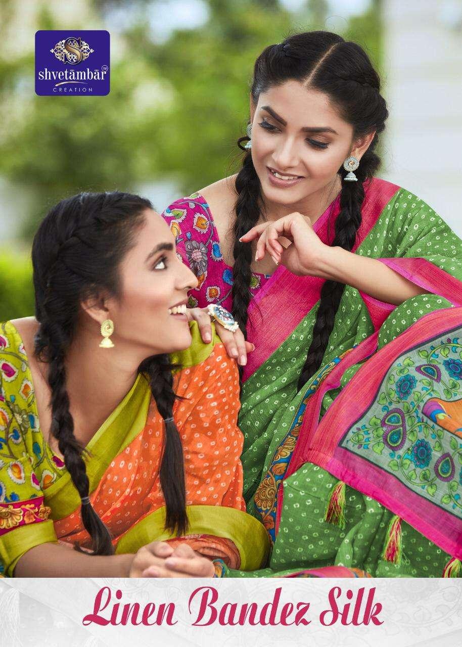 Linen Bandez Silk By Shvetambar Creation Surat Saree Exports