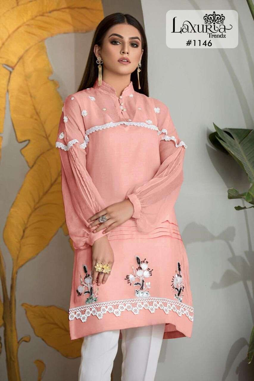 Luxuria 1146 Georgette Kurti With Cotton Pant Supplier