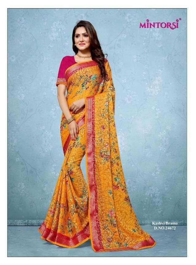 Mintorsi Kashvi Brasso Printed Designer Saree