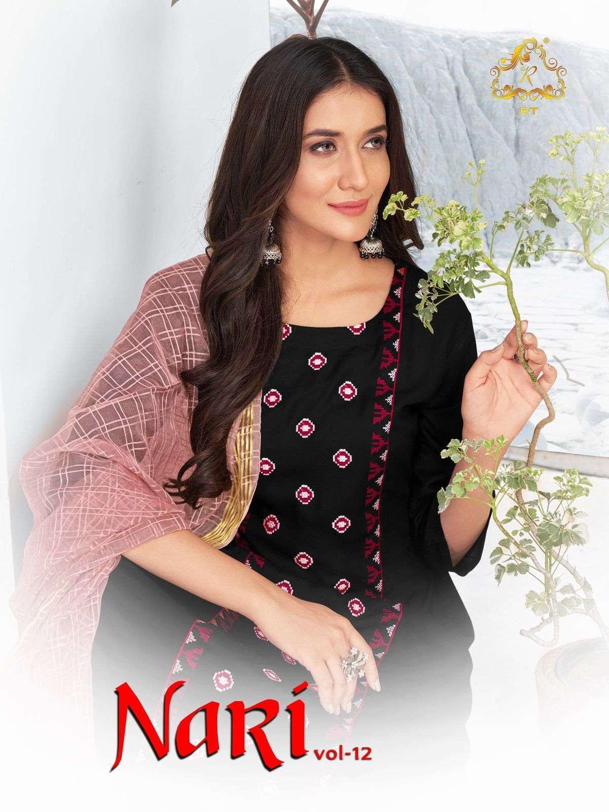Nari Vol-12 Designer Rayon Slub Kurti With Banarasi Dupatta Set By Rijiya Trends