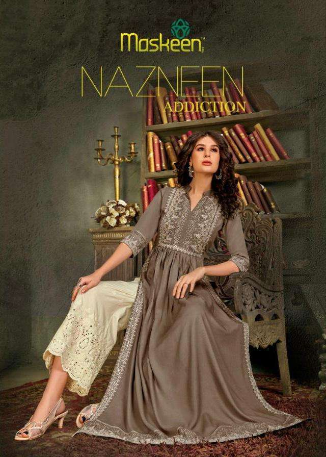 Nazneen Colours By Maskeen Rayon Long Top With Pant Supplier
