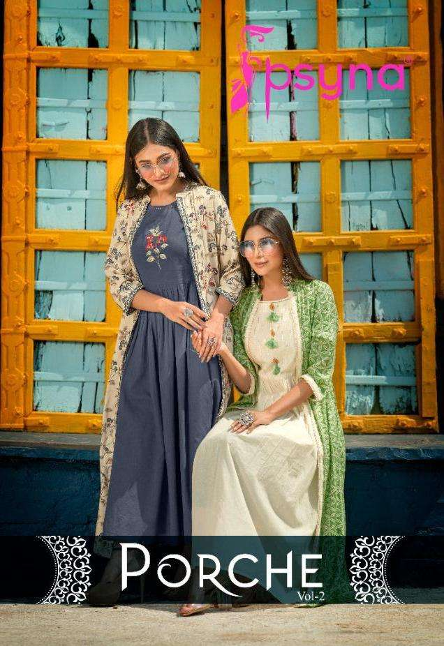 Porche Vol 2 By Psyna Rayon Party Wear Kurti With Shrug Supplier